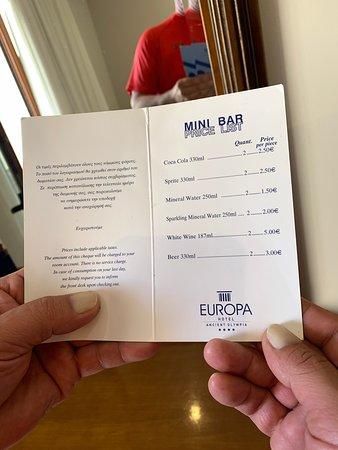 Prix mini-bar