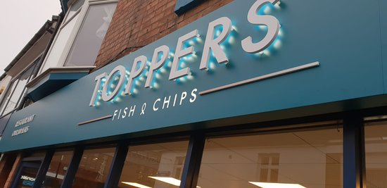 Toppers Fish and Chips Restaurant Sign