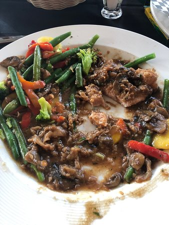 Moscow, PA: This slop was supposedly veal Marsala. Since I was not allowed to substitute my 2 sides for a side of pasta I got a double order of veggies. They were straight from the boiling water Birds Eye frozen veg mix still sipping wet. Unbelievable this crap was $27