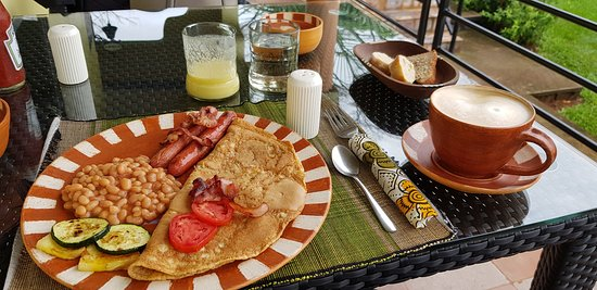 Delicious savoury breakfast on the terrace overlooking the lake