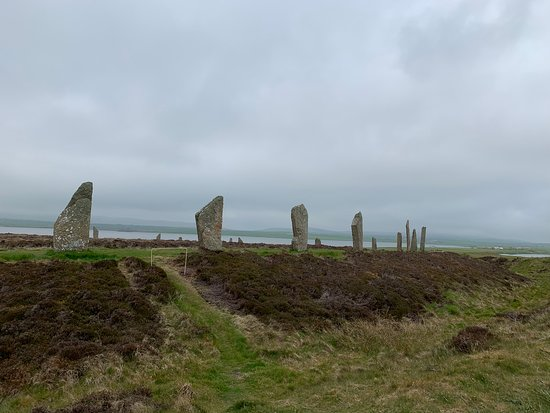 Ring of Brodgar Another Neolithic site. Unfortunately, bus tours do stop here, but at least for us there were not many buses when we stopped. It is a fairly large site and we went at our own pace and our guide was deeply knowledgeable about the site.