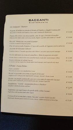 Baccanti: menù antipasti e primi
