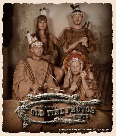 Outer Banks American Indians having some Old Time Photo fun Here at Miss Kitty's Old Time Photos and Gifts
