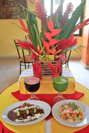 Enfrijoladas Tulipanes y Tacos dorados de Pollo