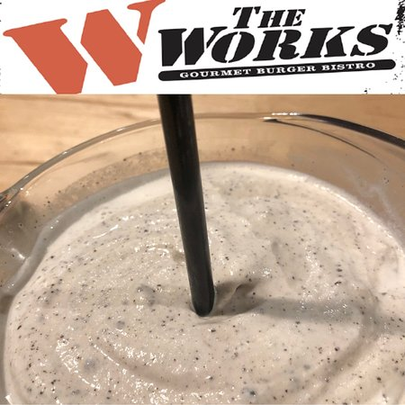 The WORKS Craft Burgers & Beer: Hand Scooped Milk Shake 🥤time at the WORKS Gourmet Burger Bistro!  Made with 💯 Real 💯 Canadian 🇨🇦 Ice Cream !! We're got the classics like 🍓 strawberry and 🍌 banana, cream-sickle, 🥜 peanut butter and 🍫 chocolate, or pick your own legendary favourite from our selection of other ingredients like Oreo as show in the pic!