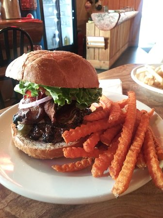 Brewer's Burger with sweet potato fries.