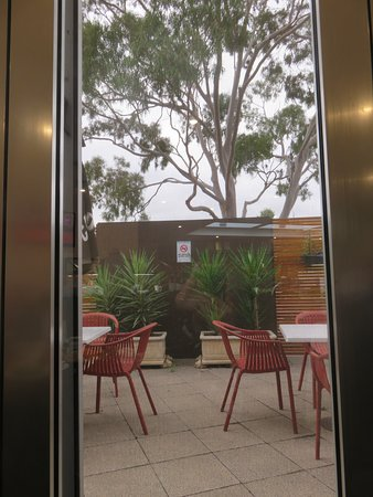 The view through the window near our table. Provision for customers who prefer Al Fresco dining