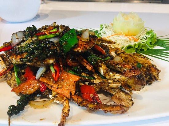 باكتشونغ, تايلاند: Stir fried soft shell crab with black pepper sauce