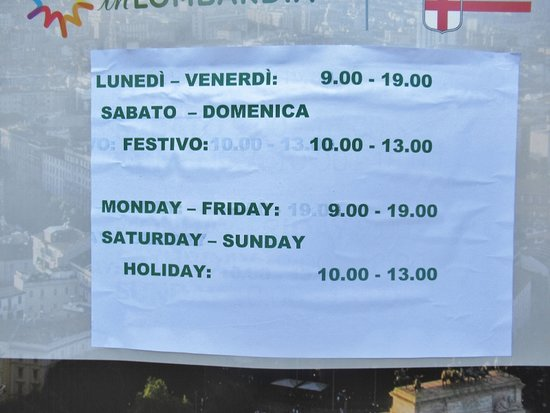 Orari d'apertura dell'Info Point Turismo Milano