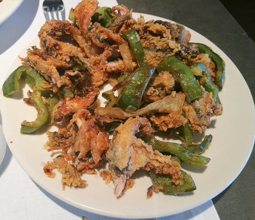 Boquerones fritos con verduras