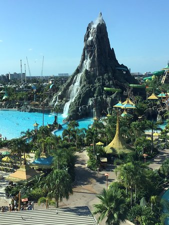 View from our room of Volcano Bay Theme park