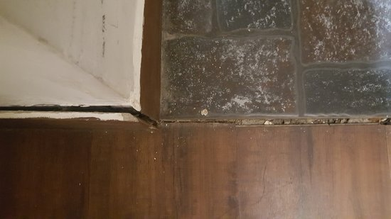 While entering the rooms wooden flooring and tiles have huge gap