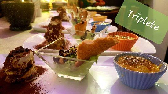 Triplete: Crema catalana, cannolo al pistacchio scomposto, tiramisù