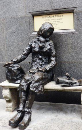 Stanley Street Quarter: a statue of Eleanor Rigby...made faamous by the fab four. Seen on our recent trip to Liverpool