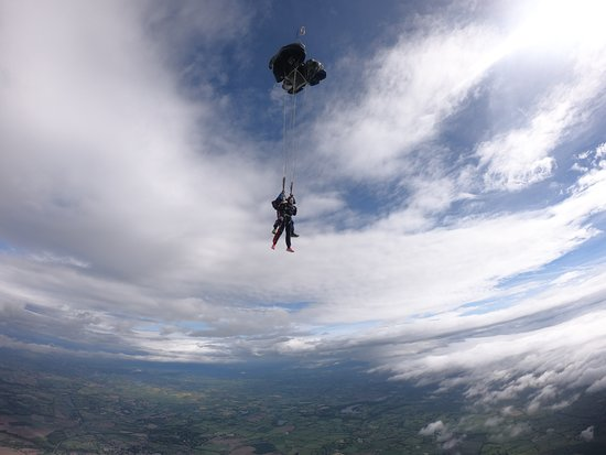 Looking over the world as the parachute has been deployed.