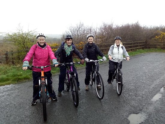 Enjoying a birthday surprise cycle in the rain