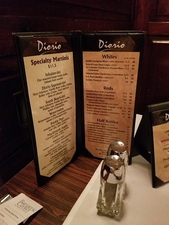 Diorio Cocktail Menu