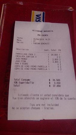 Restaurant Margarita: чек за обед