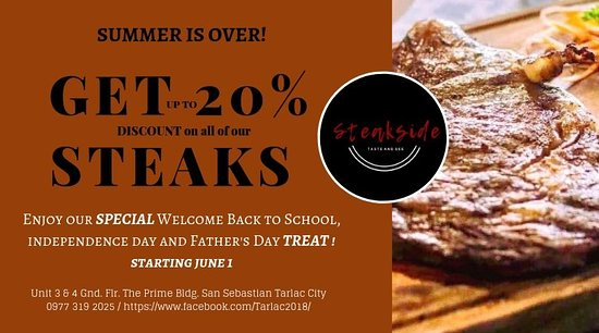 Tarlac Province, Philippines: To all our valued Guest,   Enjoy our Special STEAKside Treat this Full month filled with delightful celebration. Best place to spend time with Family and Friends and get the Finest Dining Service.   #steaksidetasteandsee #steaksideTAS #steaksideTarlac #SSTAS #guaranteed💯 #USDAPrimeBeef #beststeakintarlac #beststeakintown