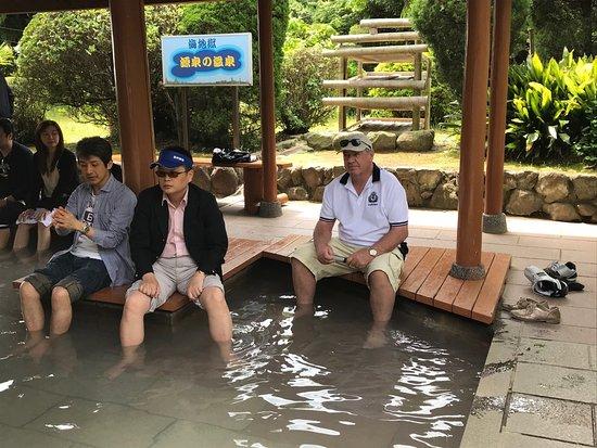Relaxing hot foot bath at Umi Jigoku