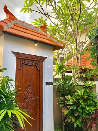 Traditional Balinese wooden entrance door beautifully carved.
