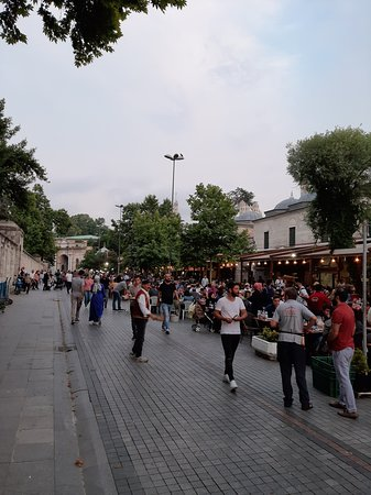 The street restaurants next to the Mosque