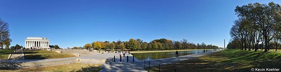 Panorama of the Lincoln Memorial the Reflection Pool and the Washington Monument in Washington D.C. USA
