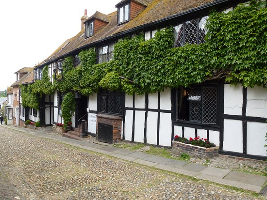 Exterior of famous Mermaid Inn rebuilt in 1420 foundations 11th or 12th century.