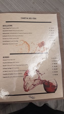 Voce del Mare: Weinkarte