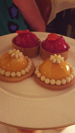Rose, raspberry and lychee tart and vanilla and apricot blancmange