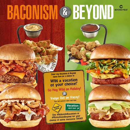 """The WORKS Craft Burgers & Beer: Hey Mississauga! The Clock is winding down on our current """"Limited Time Offer"""" - 🥓 BACONISM 🥓 & 🌱 BEYOND 🌱, June 9th will be the end of the """"LTO"""" and your last chance to enter our """"Go Hog Wild On Holiday or Veg Out On Vacation"""" contest!"""