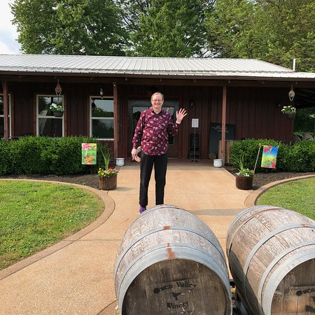 Hubby at the entrance with some of the barrel decorations.