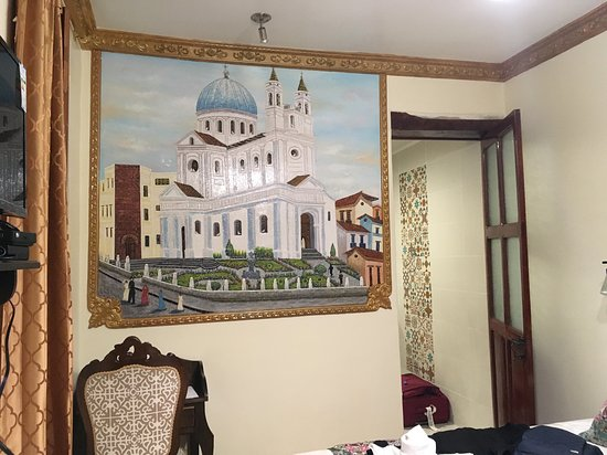The mural of Santa Barbara cathedral in the twin room