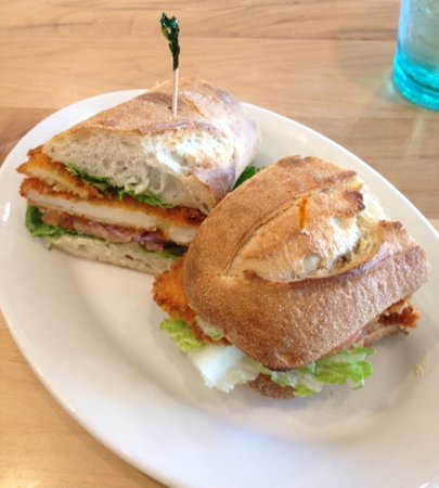 Chicken Schnitzel Sandwich Looked Great But I Did Not Like The Spicy Sauce Used Picture Of Cortado Coffee Cafe Iowa City Tripadvisor