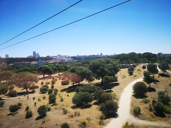 Teleferico de Madrid: View from gondola across Casa de Campo.