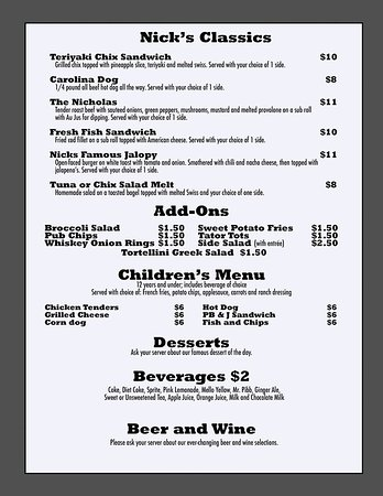 Highlander Grill & Tavern: Menu Page 3