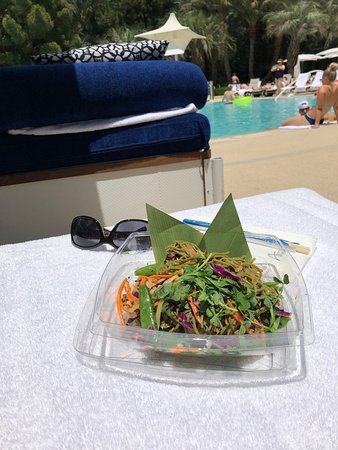 Delicious Matcha Noodle salad by the pool.