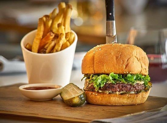 Park Street Kitchen: PSK Burger aged cheddar   house pickle   lettuce   sweet onion   dijonnaise   sesame seed bun