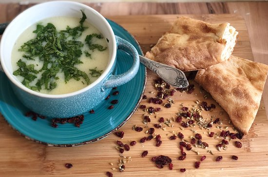 Anno`s Corner: Chikhirtma is a delicious chicken soup from  Georgia. It is a nice blend of chicken broth, vinegar, eggs, spices and greens. The soup has a slightly sour taste and a cream-like consistency.