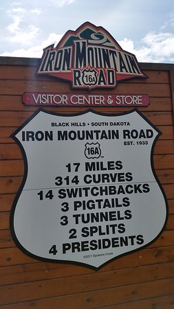 Black Hills Above and Beyond Tours: Iron Mountain Road sign along the tour.