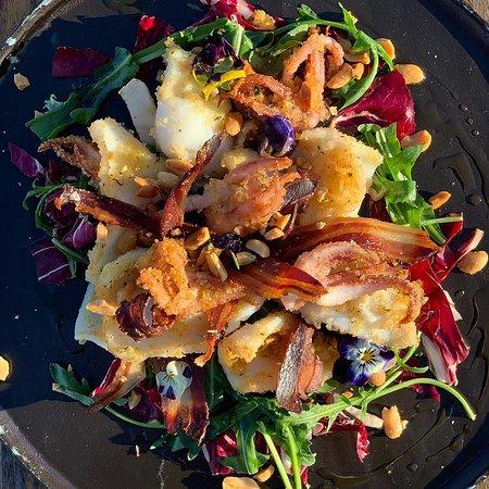 calamari croccanti 222, granella di arachidi e bacon