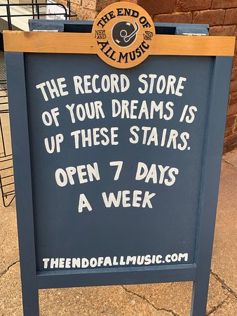 Sign for a record store on Historic Downtown Square.