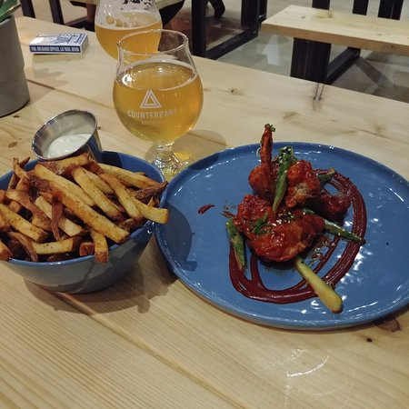 Fried Chicken and Fries at Counterpart Brewing