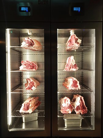 Dry aging meat refrigerator.