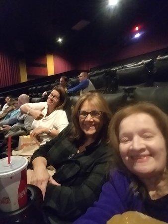 Enjoying a movie.