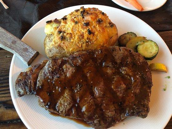 Corvallis, MT: Ribeye with twice baked potato