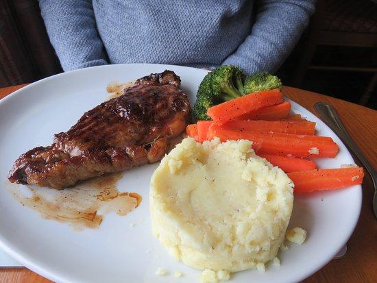Sirloin Steak mains with veg at Doune Braes Hotel