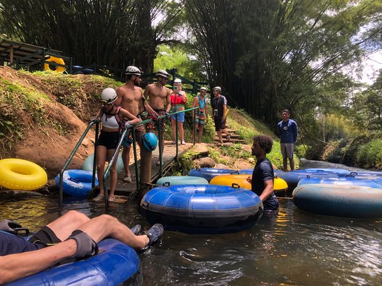 Getting into your tube at Kauai Backcountry Adventures