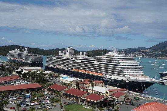 "Koningsdam (with ""little sister"" Nieuw Amsterdam) in St Thomas, US Virgin Islands"