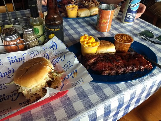 Central BBQ: memphis style pulled pork and wet ribs